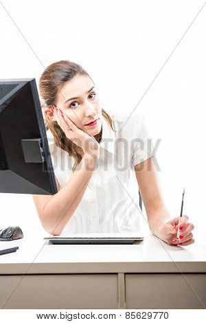 Serious But Positive Office Worker