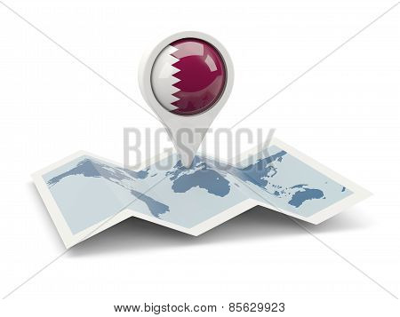 Round Pin With Flag Of Qatar