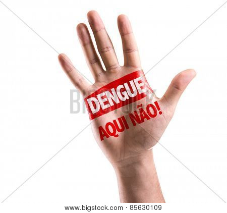 Dengue, No Here! (in Portuguese) sign painted on hand raised isolated on white