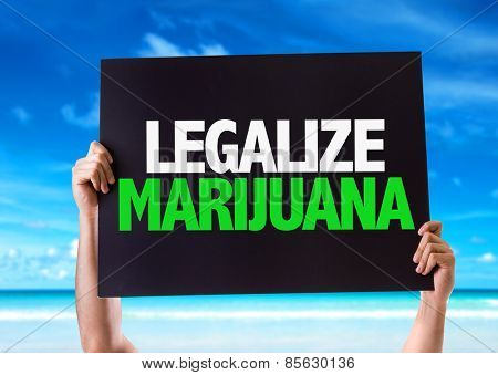 Legalize Marijuana card with beach background