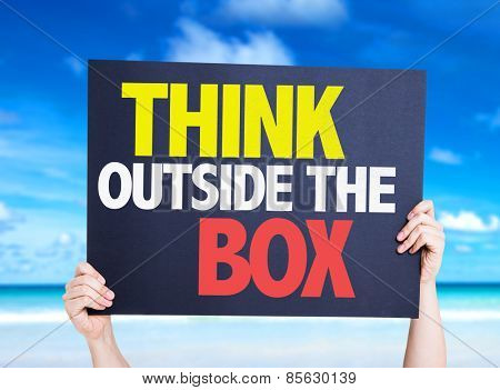 Think Outside the Box card with beach background