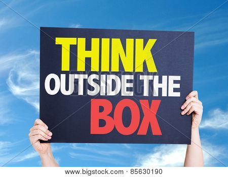 Think Outside the Box card with sky background