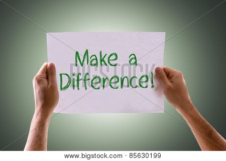 Make a Difference card with green background