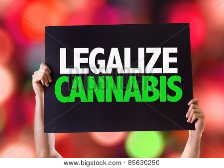Legalize Cannabis card with bokeh background