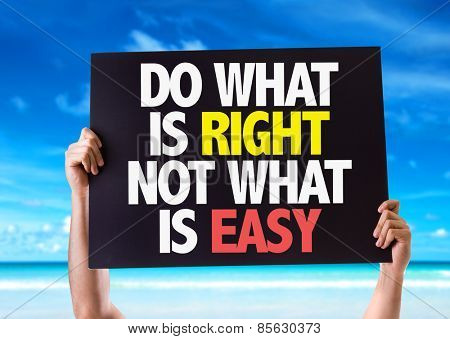 Do What Is Right Not What Is Easy card with beach background