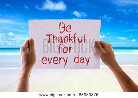 Be Thankful for Every Day card with beach background