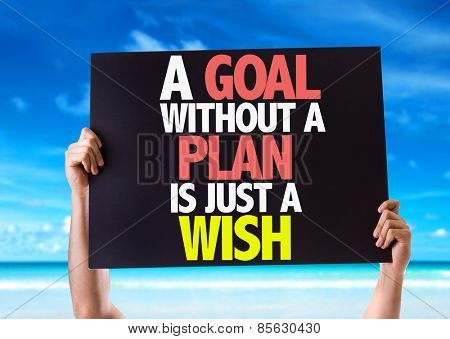 A Goal Without a Plan is Just a Wish card with beach background