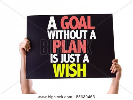 A Goal Without a Plan is Just a Wish card isolated on white