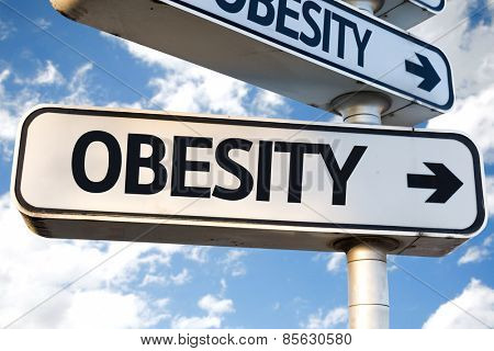 Obesity direction sign on sky background