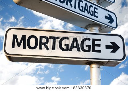Mortgage direction sign on sky background