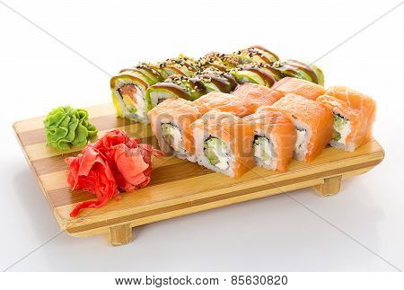 Sushi Rolls With Salmon And Avocado On A Gete Isolated On White Background