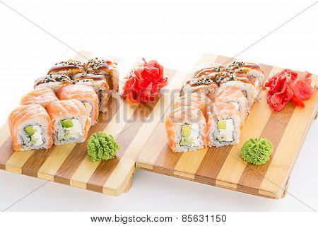 Sushi Roll Made Dish On Gete Isolated On Whiet Background