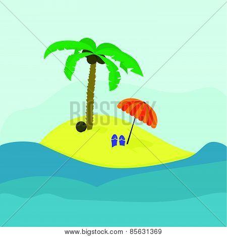 Tropic island and coconut tree