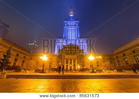 WARSAW, POLAND - 28 FEBRUARY 2014: The Palace of Culture and Science in the city center of Warsaw at night, Poland. The Palace of Culture and Science with 231 meters is the tallest building in Poland.