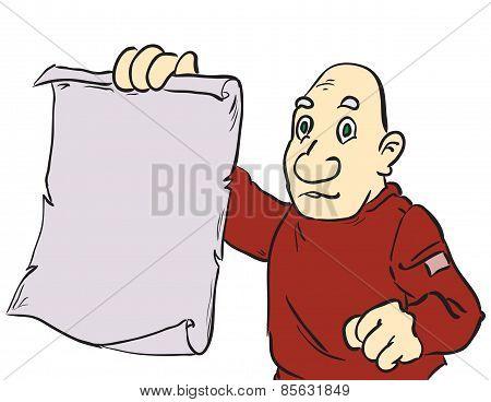 Cartoon Man Showing Parchment