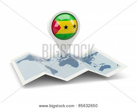 Round Pin With Flag Of Sao Tome And Principe