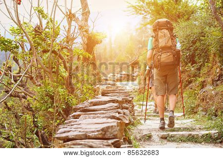 hiker in the mountains