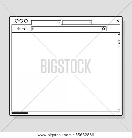 Opened browser window template. Past your content into it. web site page template