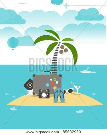 Summer seaside vacation flat illustration
