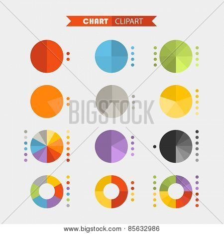 Graphic business ratings and charts .Flat infographic elements clipart
