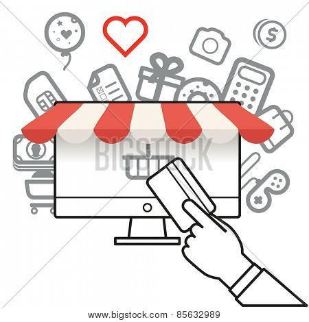 Shopping via internet connection. Simle line design illustration