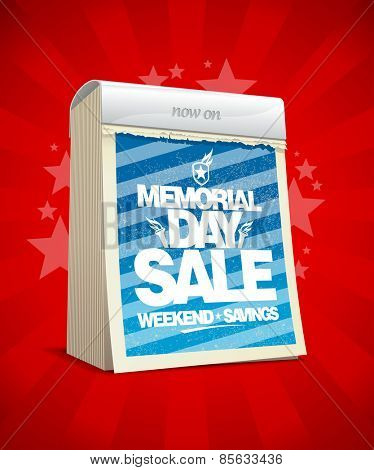 Memorial day sale design in form of tear-off calendar.
