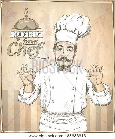 Graphic hand drawing chef cook showing okay, vintage style.
