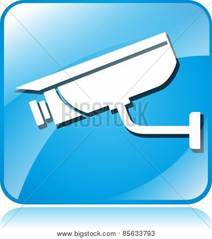 Camera Surveillance Blue Square Icon