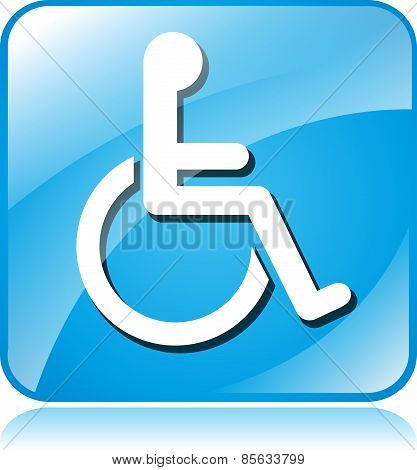 Wheelchair Blue Square Icon