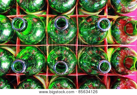 Beer Bottles Of Green Glass.