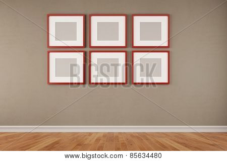 Six red quare picture frames hanging on a wall in a room (3D Rendering)