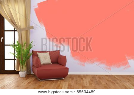 Painting a wall with color in living room during renovation (3D Rendering)