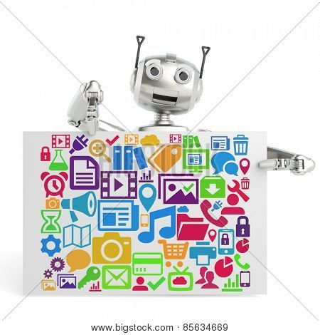 3D Robot showing many flat social media icons on a poster (3D Rendering)