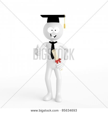 White 3D guy during university graduation holding thumbs up (3D Rendering)