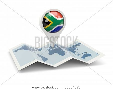 Round Pin With Flag Of South Africa