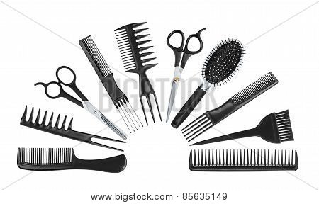 Collection Of Professional Tools Hairdresser Isolated On White Background