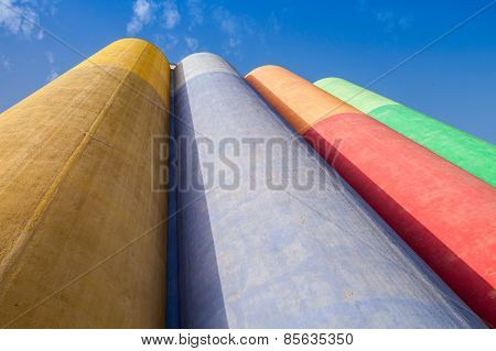 Abstract Industrial Architecture, Colorful Concrete Tanks