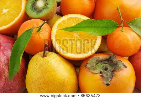 collection of fresh fruits background