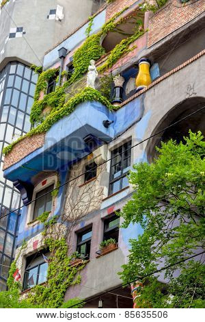 the hundertwasser house is one of the landmarks in vienna, austria