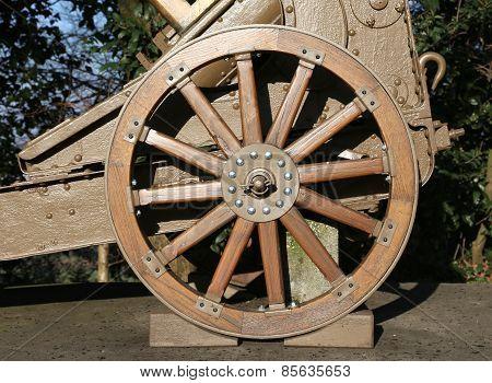 Wooden Wheel Gun Of World War I In The Museum