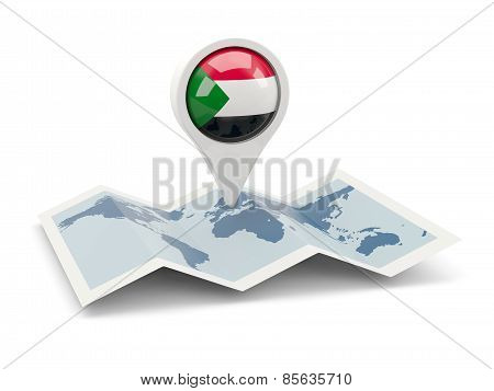 Round Pin With Flag Of Sudan