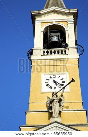 In Cislago Old Abstract    Italy   The   Wall  And Church Tower Bell Sunny