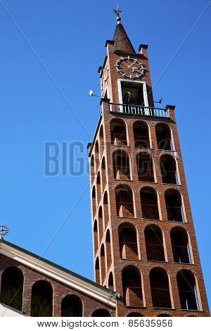 In Castellanza  Old  And Church Tower Bell Sunny Day