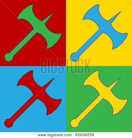 Pop Art Axe Symbol Icons.