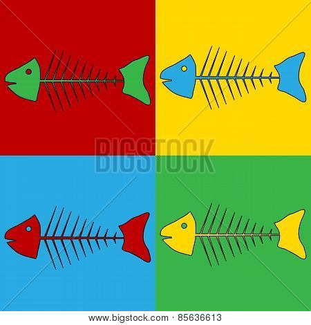 Pop Art Skeleton Of Fish Symbol Icons.
