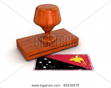 Rubber Stamp Papua New Guinea flag (clipping path included)