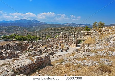 Ruins Of Mycenae And Green Hills, Valleys, Peloponnese, Greece