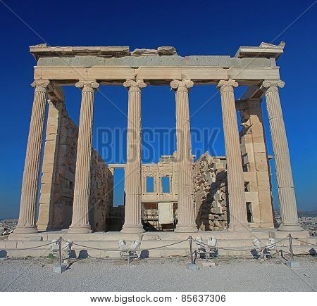 Backside Of The Erechtheion Temple With Ionic Columns In Acropolis, Athens, Greece