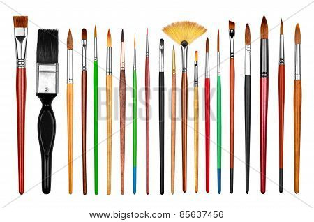 Collection Of New Professional Paint Brushes Isolated On White Background