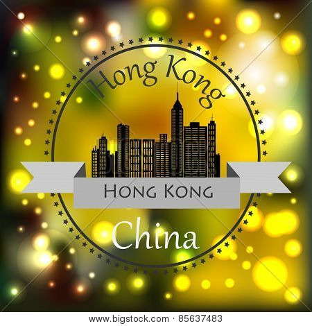 A Symbol Of Modern Hong Kong On A Blurred Background.eps 10.